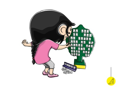 play with educational toy - 6 vector illustration flat