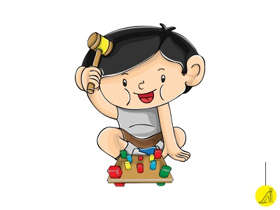 play with educational toy - 8 vector illustration flat