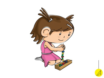 play with educational toy - 5 vector illustration flat