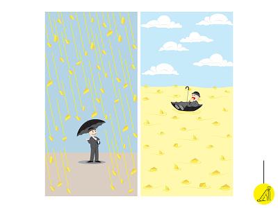 raining cheese vector illustration flat