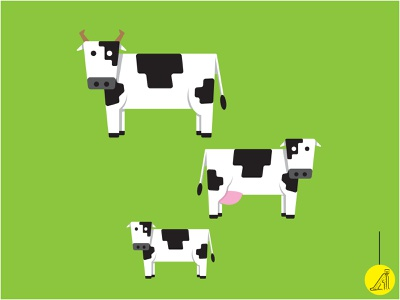 cow family vector illustration flat