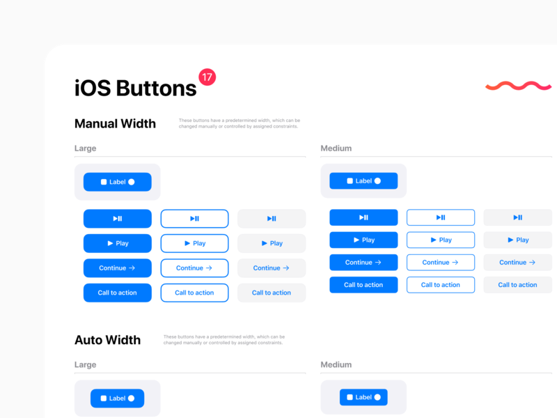 Native iOS 13 design kit for Figma - Buttons UI design