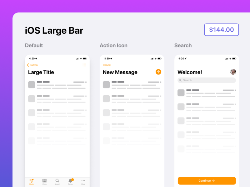 Native iOS 13 design kit for Figma - App Bar with Large Title