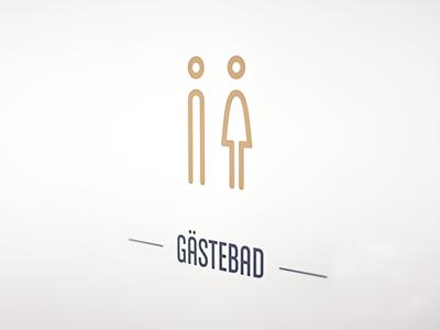 Gästebad sticker tattoo wall door wc toilette bathroom pictogram men women