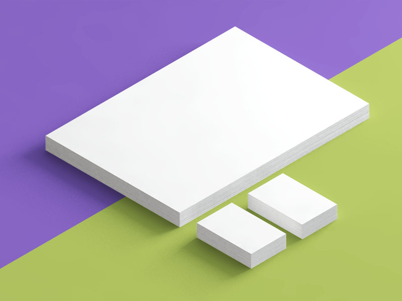 Simple isometric mockup c4d mockup isometric letterhead business card 3d stationery shadows paper