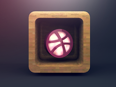 i ♥ dribbble dribbble 3d icon wood texture parkett reflection cool inlove ball symbol shadow realistic render lights lightning nice glow rectangle basketball