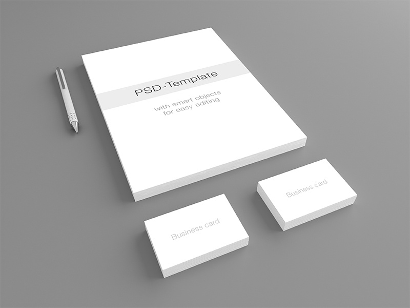 Stationary Mockup PSD-Template card business presentation clean perspective real realistic pen 3d briefbogen briefpapier brief paper letterhead letter mockup stationary