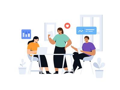 Muda mudi - Startup & Teamwork Illustrations studio office team work teamwork ui mobile landingpage app flat design people character vector illustration