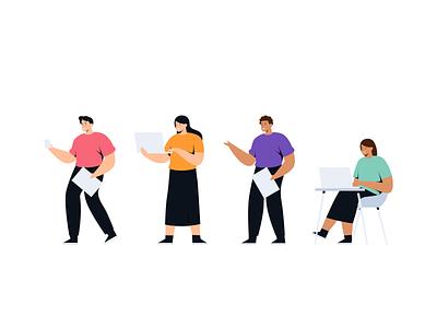 Muda mudi - Startup & Teamwork Illustrations work vector ui teamwork team studio people office mobile landingpage illustration flat design character app