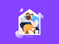 Stay Home brucira covid corona work dog home flatdesign flat design people character vector illustration