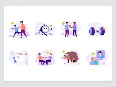 Illustration for Skodel wellbeing student family happy coffee teamwork emoji icons cute people workout gift interation human set illustrations