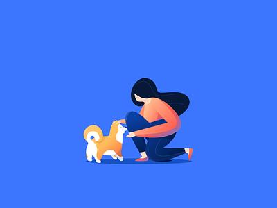 Good boy interaction animal kind blue goodboy dog design flat people character vector illustration