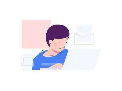 Inbox flat simple laptop desktop coffee mail illustration secretary designer