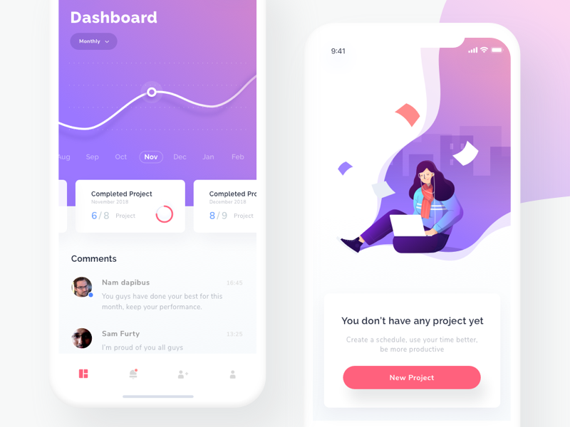 Project Management Dashboard & Empty State iphone simple clean graph icon gradient mobile app state project illustration dashboard