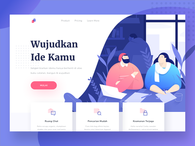 Collaborate landing page gradient safe icon search chat idea web productivity desktop ui design landingpage character illustration