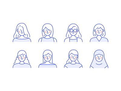 Woman avatar girl woman simple avatar flatdesign design icon flat app people mobile character vector illustration