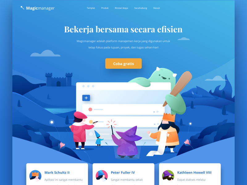 Magicmanager Landing Page Illustration dragon wizard king kingdom web typography fun colorful website landing page gradient illustration