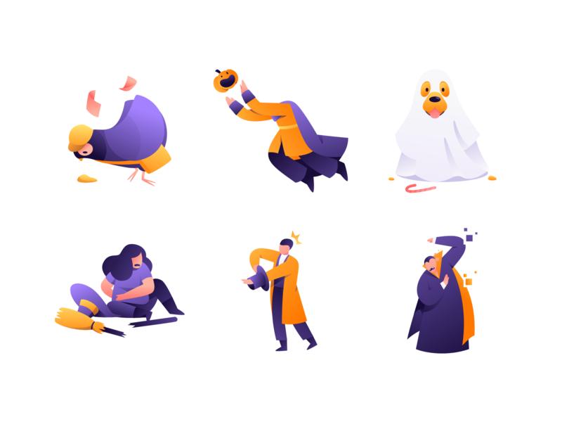 Funny halloween illustration halloween pixel vampire hat rabbit magician magic broom witch ghost dog pumpkin pigeon funny illustration funny character design people character vector illustration