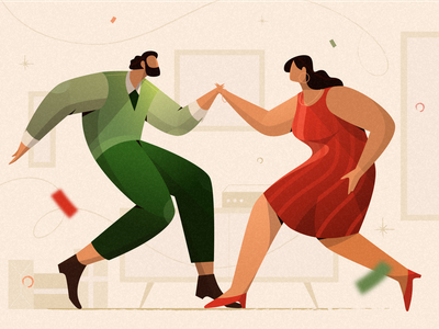 Dance couple brush texture icons newyear happy dance people human lineart flat illustration vacation holiday