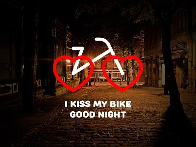 I kiss my bike good night love illustration icon kiss bike graphic design logo logotype