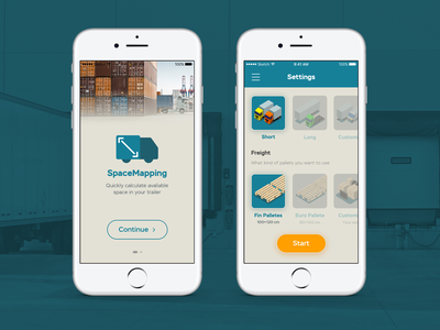 SpaceMapping App product illustration interface mapping space trailer truck cargo mobile ux ui