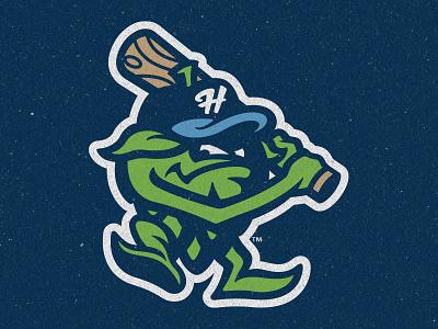Hillsboro Hops Alternate Logo bat beer hops baseball logos branding sports