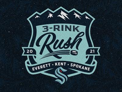 Seattle Kraken — Three Rink Rush Logo puck ribbons sports hockey logo shield mountains seattle kraken seattle