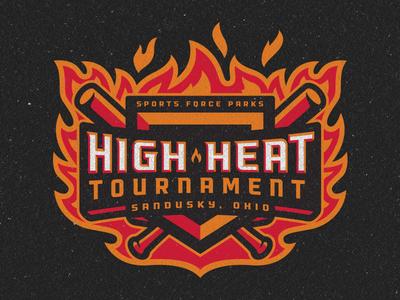Sports Force Parks High Heat Tournament Logo tournament bat flames baseball logo sports branding