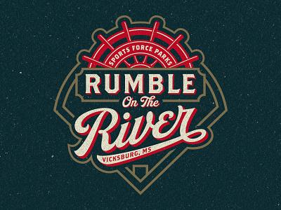Sports Force Parks Rumble On The River  Tournament Logo wheel boat field diamond tournament riverboat baseball sports branding