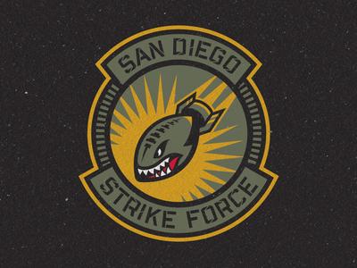 San Diego Strike Force Primary Logo marines usmc us navy patch fighter jets squadron bomb football branding sports san diego