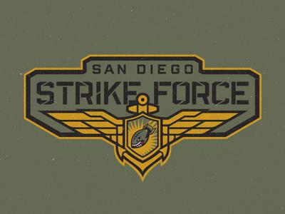 San Diego Strike Force Primary Wordmark custom type marines fighter pilot pilot wings us navy branding sports football san diego