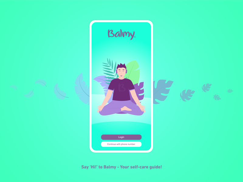 Meditation Mobile App - UI Design ui  ux ui design interface leaf balmy relief mindfulness zen mobile illustration application app meditation uiux ux ui