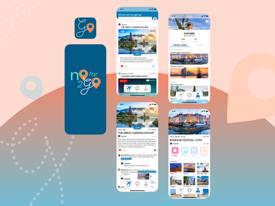 NoFar2Go tag innovation school ux design ui design social networking app travel app design travel app ux ui mobile app design mobile app ios app icon design app android app