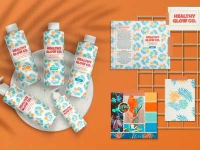 Healthy Glow packaging design packaging palm trees pattern designer logo design branding brand identity visual identity visual design