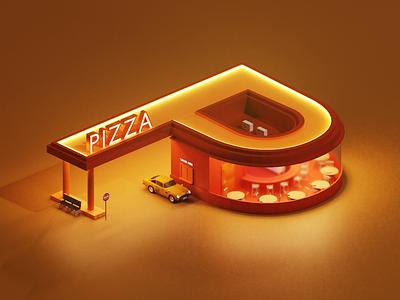 P Letter - 36 Days of Type p p letter lettering letters latter car pizza blender3d blender 3d 36daysoftype