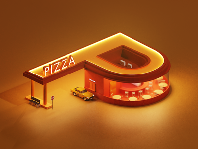 P Letter - 36 Days of Type p p letter lettering letters latter car pizza blender3d blender 3d 36daysoftype