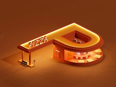 P Letter - 36 Days of Type p letter pizza p lettering letters letter car blender3d blender animation 3d 36daysoftype
