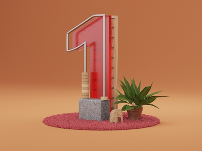 Number 1 render 36daysoftype letter typo illustration 3d blender3d blender
