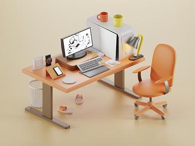 Work Space workstation pc desk office work workspace isometric illustration 3d blender3d blender