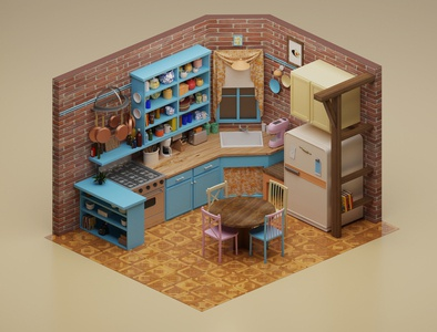 Monica's kitchen low poly lowpoly friends kitchen isometric illustration 3d blender3d blender