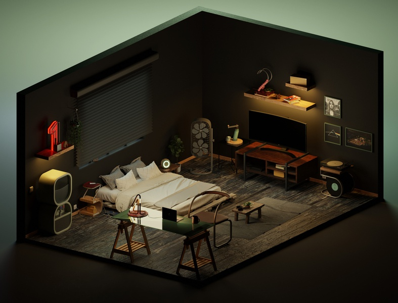House of numbers low poly cycles room isometric render illustration 3d blender3d blender