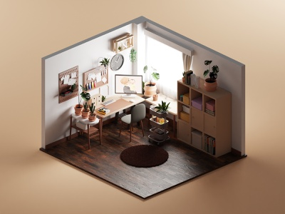 Work Station workstation paint isometric lowpoly illustration 3d blender3d blender