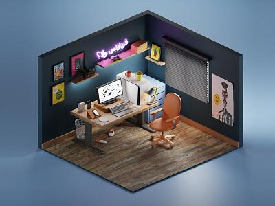 Artist Work station workstation workspace isometric render lowpoly illustration 3d blender3d blender