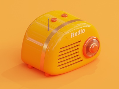Radio illustraion isometric render animation 3d animation 3d blender3d blender