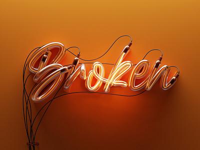 brOKen render isometric letters lettering letter 36daysoftype logo typography 3d illustration blender3d blender