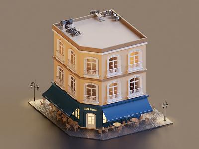 Building building cafe paris isometric design 3drender render isometric illustration 3d blender3d blender