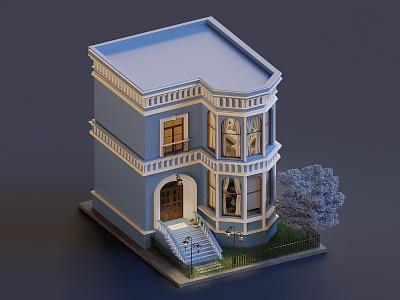 House isometric lowpoly render house illustration 3d blender3d blender