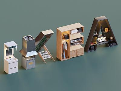 Ikea Logo render typography isometric lowpoly logo letters letter illustration blender3d blender 3d