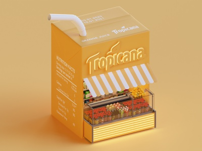 Tropicana Booth juice packaging lowpoly isometric render booth design blender3d 3d blender