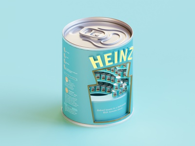 Heinz Beans booth isometric render lowpoly can illustration blender blender3d 3d